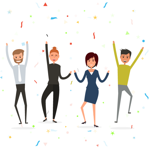 Picture of business people celebrating and jumping for joy with confetti falling - illustration